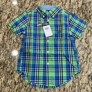 CHAPS Green Blue Plaid Button front 5 NEW